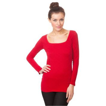 Women's Ladies Women Girl Square Neck Textured Long Sleeve Top (One Size Fits All) - Red - Walmart.com