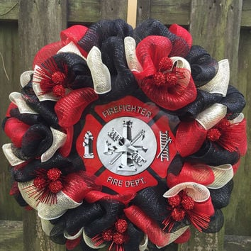 Firefighter Wreath,Firefighter Gift,Firefighter  Decor,Fireman Wreath,Fireman Gift,Firefighter Wife,Fireman Gift,Firefighter,Fireman