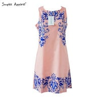 Simplee Apparel 2015 summer sleeveless print dress Casual blue and white porcelain pattern lady dress Plus size women clothing