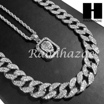 "14k White Gold PT Lion Pendant 15mm Iced Out Miami Cuban 30"" Necklace SET S199S"