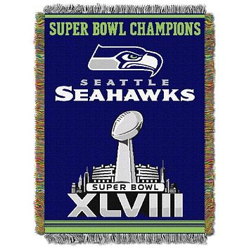 """Seattle Seahawks NFL Commemorative 48""""x 60"""" Woven Tapestry Throw"""