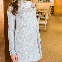 New York Nights Laced Cowl Neck Dress Heather Gray