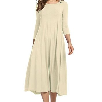 Fashion Spring Soft Cotton High Quality Casual A Line Women Dress Solid Three Quarter Sleeve O Neck Large Pendulum Midi Dress
