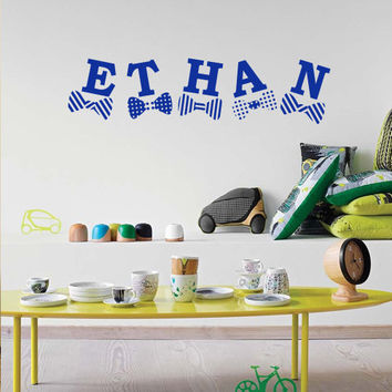 Wall decal decor decals sticker art vnyl personalized name monogram lettering sign nursery kids Ethan bedroom living room (m1210)