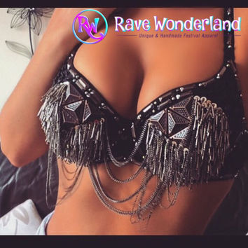 Tribal Bra With Chain, Native American Inspired Bra, Steampunk bra, Fringe Bra, Rave, Coachella, Festival,Edc,Burning Man,Native Bra,Tribal