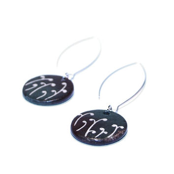 Ceramic jewelry ceramic earrings - colorful jewelry, floral motif, dark green and brown, natural jewelry