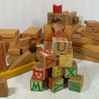 Vintage Fabric Bag Full of Wooden Toy Blocks - Three Generations of HardWood Pieces Plus Colorful Letter Cubes - Variety of Shapes & Sizes