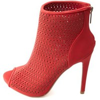 Anne Michelle Perforated Peep Toe Booties by Charlotte Russe