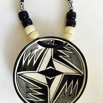 Signed J.Q. Native American Art of Anasazi Mimbres New Mexico - Pendant and Pierced Drop Earrings, Geometric Designs, Native American Art