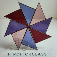 stained glass suncatcher, light purple, blue purple & red purple pinwheel suncatcher
