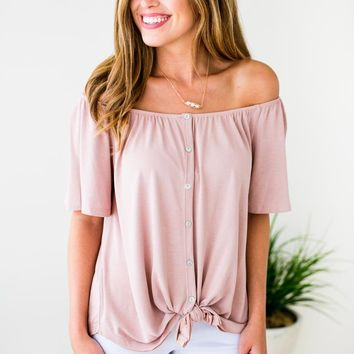 Don't Be Surprised Blush Tie Front Tunic