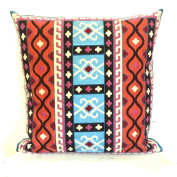 Pillow, Decorative Pillow, Handmade Embroidery Pillows, Colorful Tribal Ikat Pillow Cover, Throw Pillow, Toss Pillow, Sofa Pillow