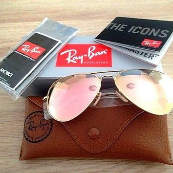 * NEW GENUINE * 80% OFF Ray Ban Aviator Gold Frame Pink Mirror Lens Sunglasses