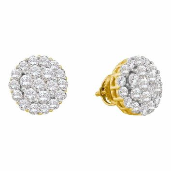 14kt Yellow Gold Women's Round Diamond Flower Cluster Screwback Earrings 2.00 Cttw - FREE Shipping (US/CAN)