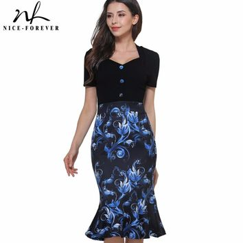 Nice-forever 2017 Vintage Flower Print Short Sleeve Stylish Casual Sweat-Heart Neck Bodycon Women Office Mermaid Work Dress B376