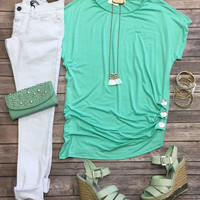Triple Threat Button Top: Mint