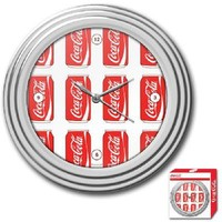 NEW Coca-Cola Clock w/ Chrome Finish - Cans Style - 11.75 inches