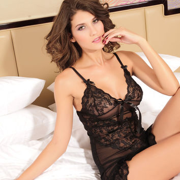Cute Hot Deal On Sale Spaghetti Strap Sexy Lace Sleepwear Dress Exotic Lingerie [6596726915]