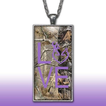 Camo Love Heart Pendant Charm Necklace Deer Head Browning Purple Country Girl Custom Necklace Silver Plated Jewelry