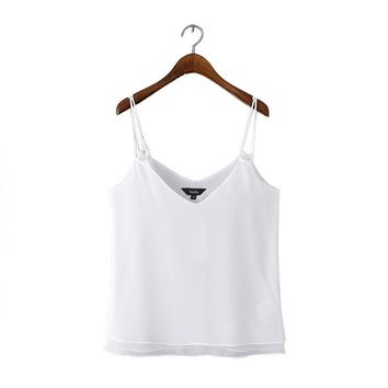 Women sexy suspender vest V-neck summer solid black & white camis sling shirts