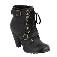 PINKY LOTUS-801 Women's Round Toe Lace Up Ankle Bootie On Chunky Heels