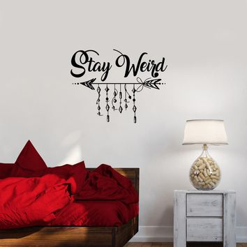 Wall Decal Inscription Arrow Patterns Stay Weird Dreamcatcher Vinyl Sticker (ed1150)