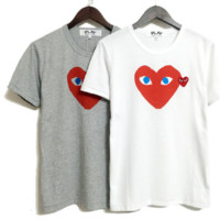 Men and women models lovers love short-sleeved casual student embroidery T-shirt