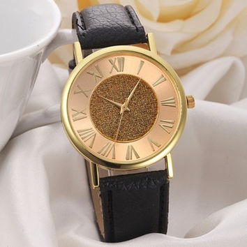Women Watches Glitter Dial PU Leather Band Analog Dress Wrist Watch Clock Relogio Feminino CF