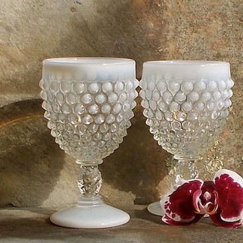 Vintage Hobnail Opalescent Goblets - Fenton Glasses - Pair of Two - Retro Cottage Decor