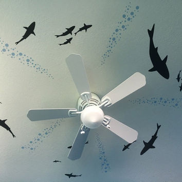 Ceiling Shark Decal From Below Shark Wall Decal Shark Decal Underwater Decal Aquarium Scene Decal Bubbles Wall Decal Ocean Wall Decal Diving
