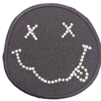 """NIRVANA Smiley Bling Iron On Embroidered Patch 2.9""""/7.4cm"""