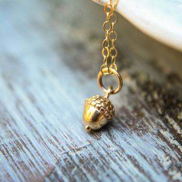 Tiny Acorn Necklace, Available in Sterling Silver Plated Bronze and Natural Bronze and Gold-Filled
