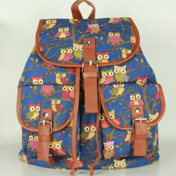 Owls Travel Bag Canvas Lightweight Casual Backpack