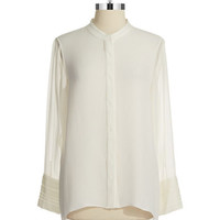 Elie Tahari Sheer Blouse With Back Vent
