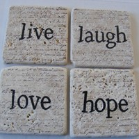 Live Laugh Love Hope Natural Tile Coaster Set of 4 - Home Decor Art