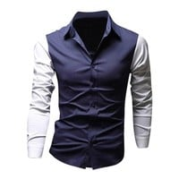 Jeansian Men's Slim Fit Long Sleeves Casual Shirts