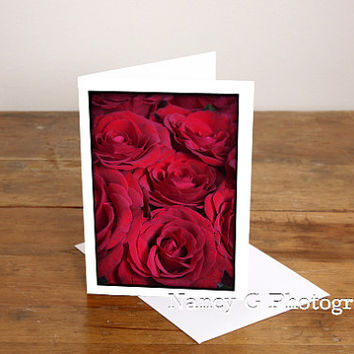 "Greeting Cards, Valentines Card, Flower Card, Red Roses, Vertical, Blank Photographic Card, Art, 5""x7"", Card, Greeting Cards, Paper Good"