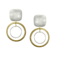 Marjorie Baer Clip On Earrings with Brass and Silver Rings