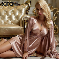 Spring Stain Silk Womens Pajamas PJS Femme Pyjamas Lace Robe Sexy Sleepwear Bathrobe M-3XL