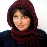 Burgundy Double Spirit  Knit Hood Super soft Mixed    wool Woman Reversible   Hooded Cowl  White Chunky Hoodie