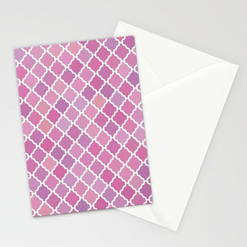 Pink Purple Moroccan Pattern Stationary, Pink Purple Abstract Pattern Note Cards, Pink Flower Invites, Blank Invites, Pink Thank You Cards