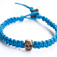 Skull Blue Hemp Bracelet Friendship Bracelet