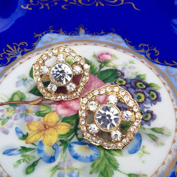 Memorial Day Sale Vintage Signed Trifari Diamond & Gold Pierced Earrings - Looks Like New