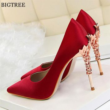 Elegant Metal Carved Heels Women Pumps Solid Silk Pointed Toe Shallow Fashion High Heels 10cm Shoes Women's Wedding Shoes