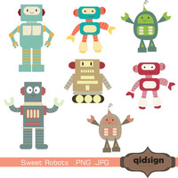 Sweet Robot Clip Art - Personal And Commercial Use INSTANT DOWNLOAD