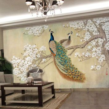 photo wallpaper modern art painting Chinese living room bedroom TV backdrop bird Peacock Magnolia large mural wallpaper