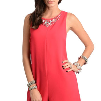Embellished Neckline Sleeveless Romper