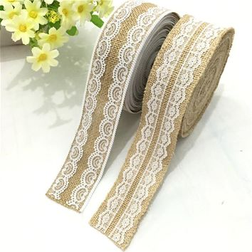 50mm Natural Jute Burlap Hessian Lvory White Lace Ribbon Roll 2M Vintage Wedding Decoration Party Crafts Gift Wrapping AA8057