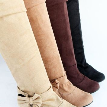 Women's Sexy Bow Tie Knee High Boot