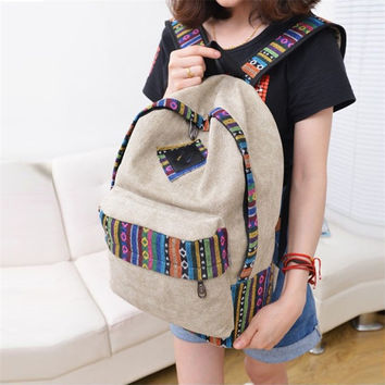 Canvas Backpack Floral Stripe School Shoulder Bag Travel Rucksacks Suzie Khaki